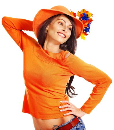 Woman wearing orange sweater and hat. Isolated. Stock Photo - 15290499
