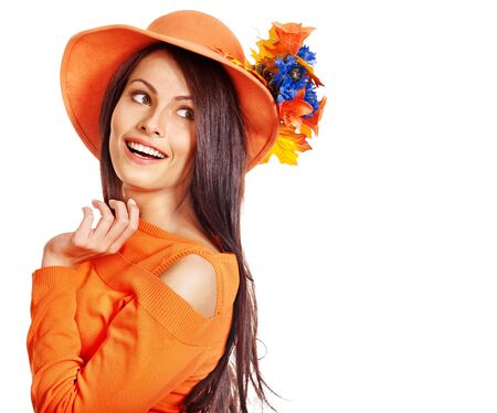 Happy woman wearing orange hat with flower. Autumn fashion Stock Photo - 15290433