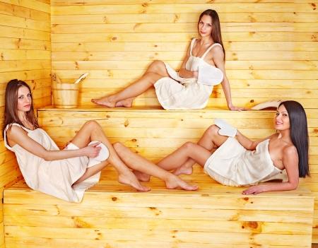 sauna: Group people relaxing in sauna.