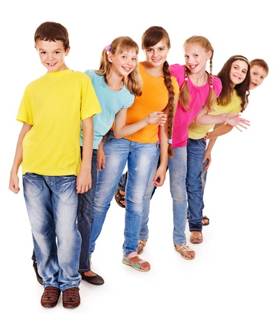 classmate: Group of teen people. Isolated. Stock Photo