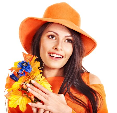 Happy woman wearing orange hat with flower. Autumn fashion Stock Photo - 15455348