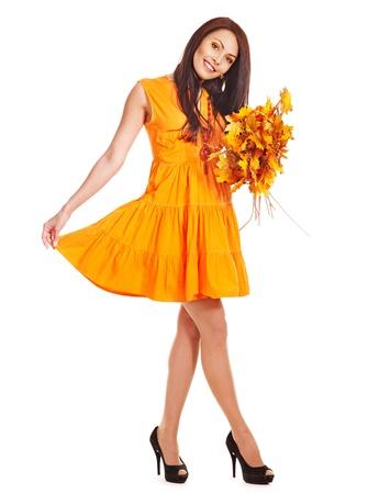Woman holding orange leaves. Isolated. Stock Photo - 15455269