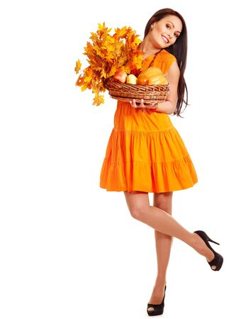 Woman holding orange leaves. Isolated. Stock Photo - 15455276