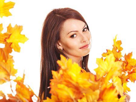 Woman holding orange leaves. Isolated. Stock Photo - 15455514