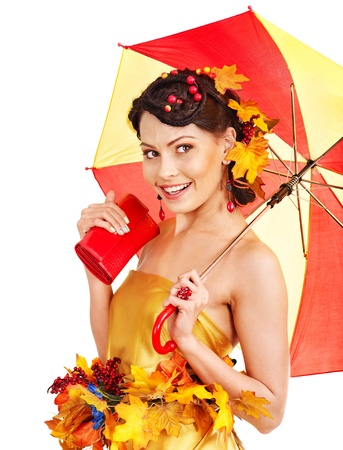 Girl with autumn hairstyle and umbrella. Fashion glamour. Stock Photo - 15464673