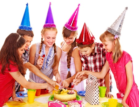 boys party: Birthday party of group teen with cake. Isolated. Stock Photo