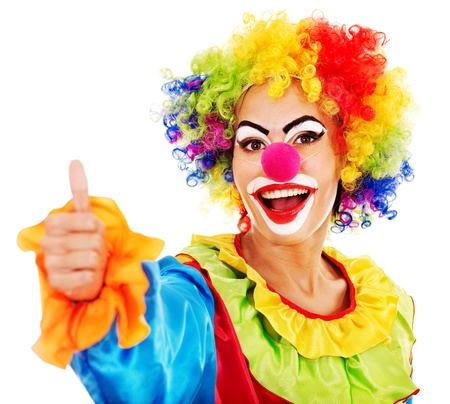 clown's nose: Portrait of clown with makeup thumb up. Stock Photo