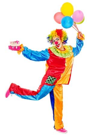 clown cirque: Portrait de clown avec ballon. Isolé.
