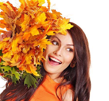 Woman holding orange leaves. Isolated. Stock Photo - 15635308