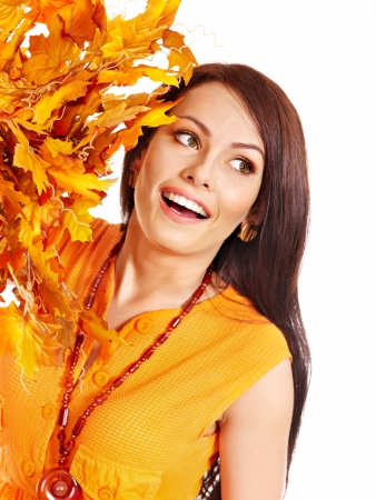 Woman holding autumn orange leaves . Stock Photo - 15635006