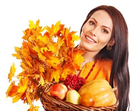 Woman holding orange leaves. Isolated. Stock Photo - 15635240
