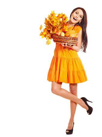 Woman holding orange leaves. Isolated. Stock Photo - 15634996