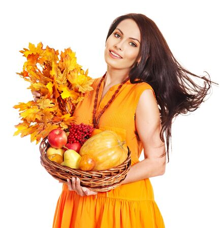 Woman holding orange leaves. Isolated. Stock Photo - 15635011