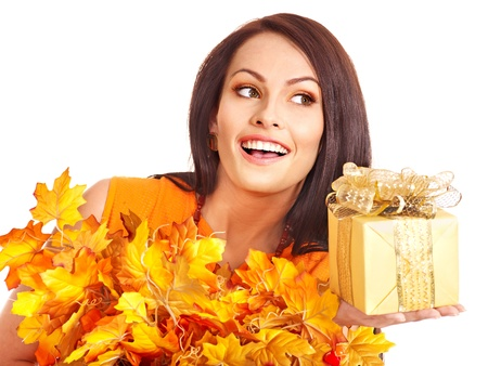 Girl with wreath of autumn leaves on the head. Art photo. Stock Photo - 15635178