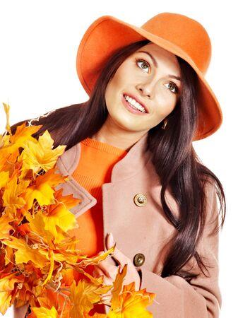 Woman wearing overcoat holding  orange leaves. Stock Photo - 15635017