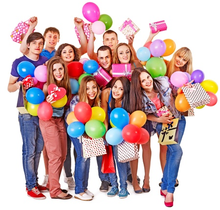 happy young people: Group people with balloon on party. Isolated. Stock Photo