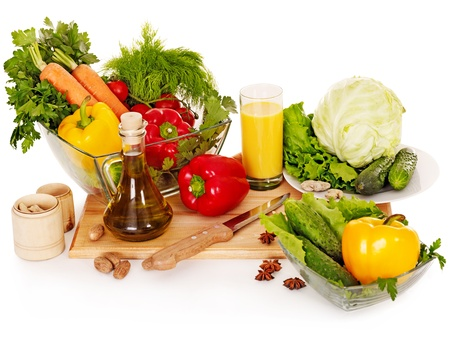 preparing food: Fresh vegetable and fruit and glass of juice.