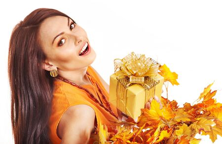 Girl with wreath of autumn leaves on the head. Art photo. photo