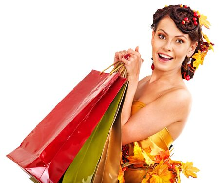 Girl with  autumn hairstyle and shopping bag. Stock Photo - 15718968