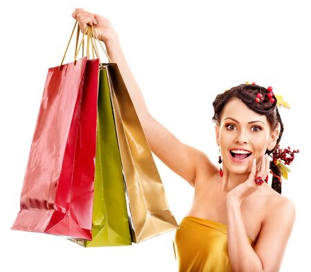Girl with  autumn hairstyle and shopping bag. Stock Photo - 15719009