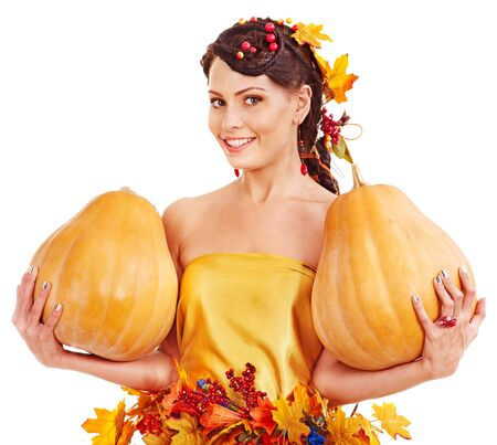 Woman holding group autumn pumkin. Isolated. photo