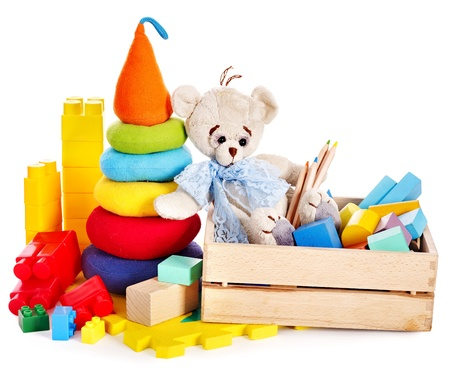 toy box: Children toys with teddy bear and cubes. Isolated.