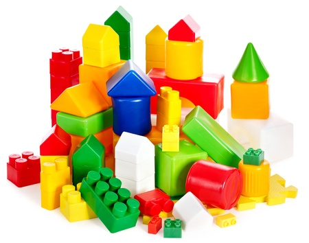 playthings: Children toys with cubes. Isolated.