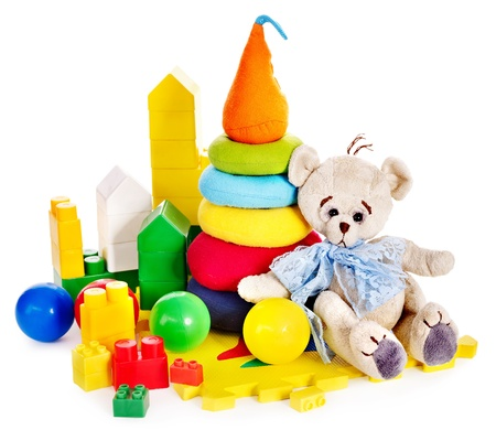soft toys: Children toys with teddy bear and ball. Isolated.