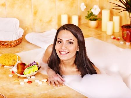 woman bar: Young woman take bubble  bath.