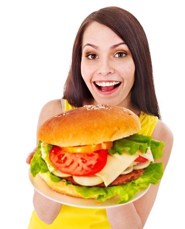 Woman holding hamburger. Isolated. Stock Photo - 15832409