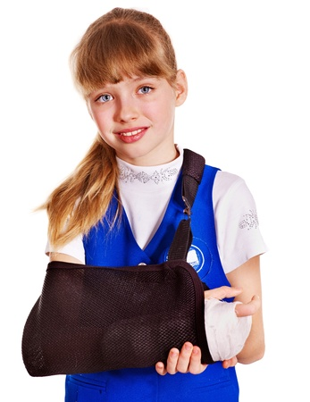 broken arm: Child with broken arm. Isolated. Stock Photo