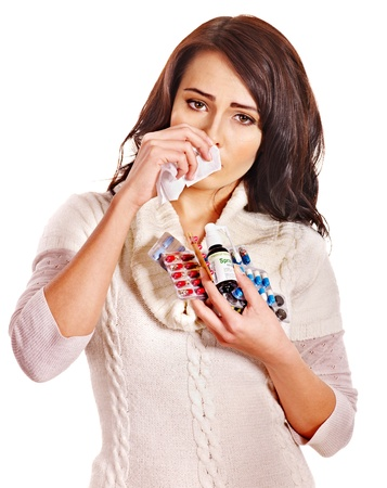 hanky: Young woman with handkerchief having  tablets and pills.  Isolated. Stock Photo