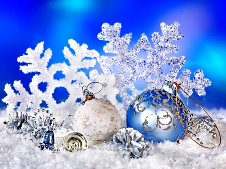 Christmas still life with snowflake and ball. Holiday decoration.