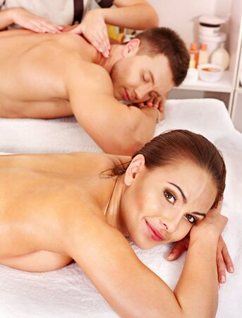 Man and woman relaxing in spa. photo