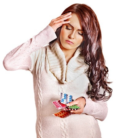 tonsillitis: Young woman with headache take pills and tablets. Isolated. Stock Photo