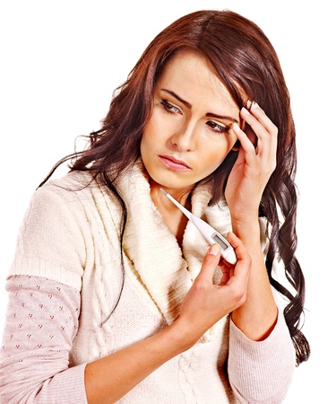 Young woman having  flue taking thermometer. Isolated. Stock Photo - 16222072
