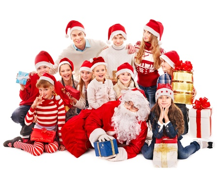 Group of children with Santa Claus.  Isolated. Stock Photo - 16355010