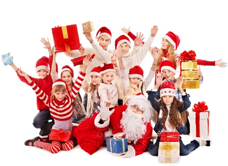 Group of children with Santa Claus.  Isolated. Stock Photo - 16355005