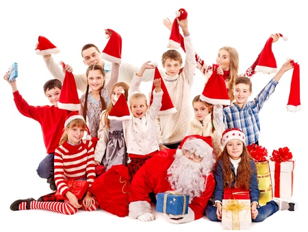 Group of children with Santa Claus.  Isolated. Stock Photo - 16354969