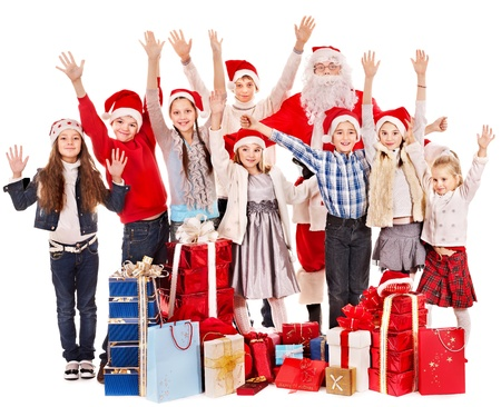 Group of children with Santa Claus.  Isolated. Stock Photo - 16354773