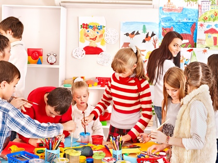 child drawing: Child painting at art school. Education. Stock Photo