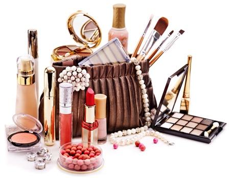 cosmetics bag: Decorative cosmetics for makeup. Close up. Stock Photo