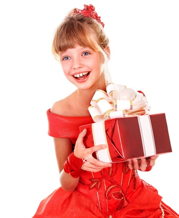 girl in red dress: Girl child  in red dress with gift box. Isolated.