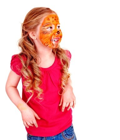 nurser: Children with paint of face. Make up.