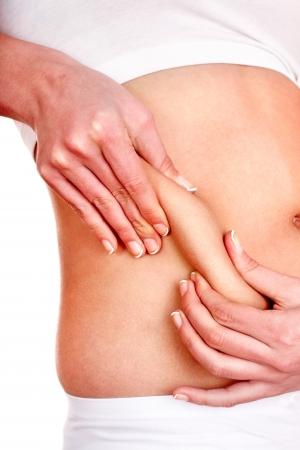 mujer gorda: Parte grasa del cuerpo femenino. Aislado.