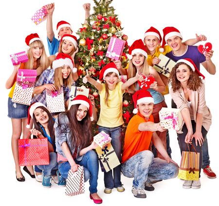 Group people and  Santa holding gift box near  Christmas tree. Stock Photo - 16610339
