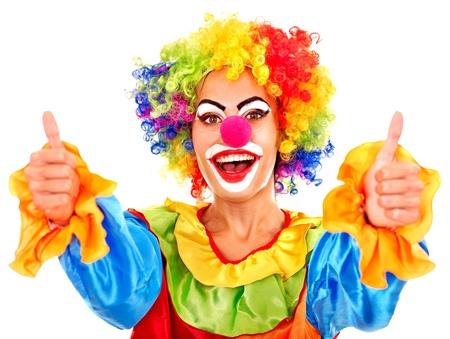 clown cirque: Portrait de clown avec le pouce jusqu'� maquillage.