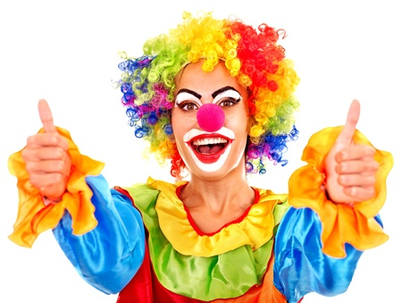 carnival clown: Portrait of clown with makeup thumb up. Stock Photo