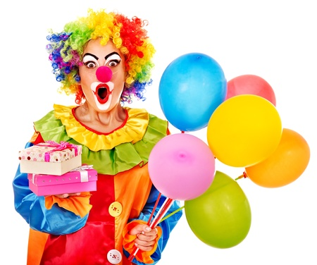 clown face: Portrait of clown with balloon. Isolated.