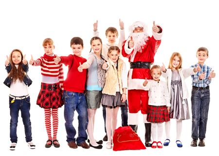 Group of children with Santa Claus.  Isolated. Stock Photo - 16610114